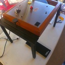 Linn Sondek LP12 turntable up on the jig, armboard removed for drilling