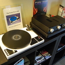 New turntable from The Funk Firm:  The Little Super Deck. Next to the turntable is the new Heed Obelisk Si (integrated amp) and the new Canalot headphone amp with dedicated external power supply.  We brought along some Ultrasone Edition8 and PRO900 headphones for demo.